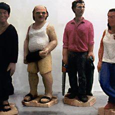 Skulpturengruppe aus Pappelholz